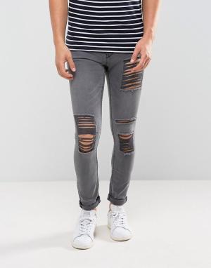New Look Серые выбеленные джинсы скинни с рваной отделкой. Цвет: серый