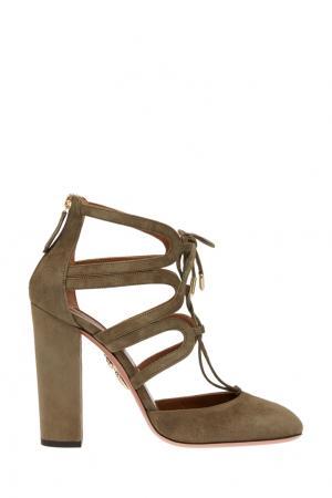 Замшевые туфли Holli Aquazzura. Цвет: хаки