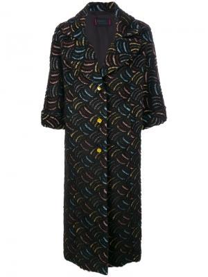 Пальто с узором Femme By Michele Rossi. Цвет: чёрный
