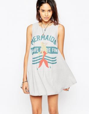 The Laundry Room Свободное платье Mermaids Have More Fun. Цвет: вулканический камень