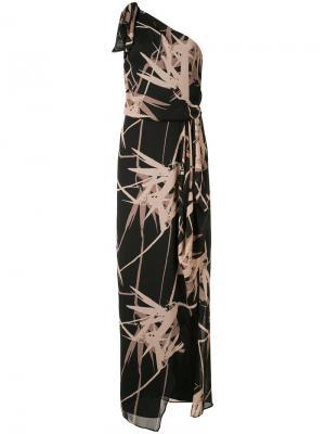 Платье с цветочным принтом Halston Heritage. Цвет: чёрный