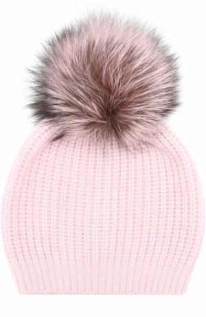 Кашемировая вязаная шапка с меховым помпоном William Sharp. Цвет: светло-розовый