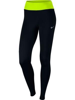 Тайтсы W NK PWR ESSNTL TGHT DF Nike. Цвет: черный, желтый