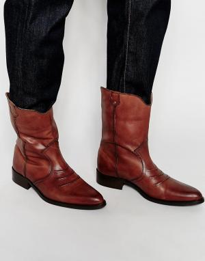 ASOS Светло-коричневые кожаные ботинки в стиле вестерн. Цвет: рыжий