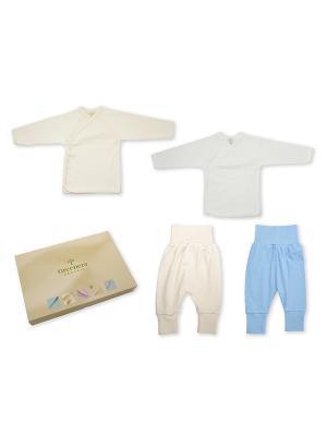 Комплект из 2-х распашонок и штанишек GREENERA. Цвет: светло-бежевый, белый, голубой