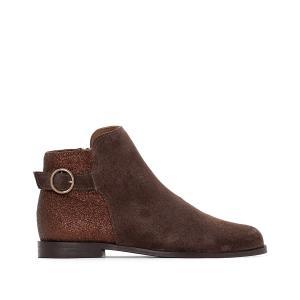 Ботинки-челси кожаные с блестками сзади La Redoute Collections. Цвет: каштановый,сине-серый