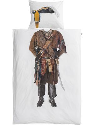 Комплект постельного белья Пират 150х200см SNURK. Цвет: белый, темно-коричневый, коричневый