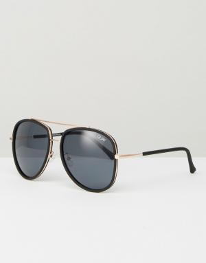 Quay Australia Черные солнцезащитные очки-авиаторы Needing. Цвет: черный