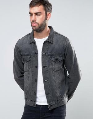 Dead Vintage Черная выбеленная джинсовая куртка. Цвет: черный