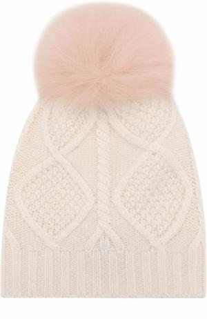 Шерстяная шапка фактурной вязки с меховым помпоном Yves Salomon Enfant. Цвет: светло-розовый