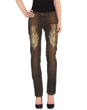 Джинсовые брюки LUPATTELLI. Цвет: зеленый-милитари
