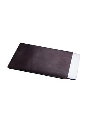 Кожаный чехол Classic для MacBook 12. Dark Chocolate With Love. Moscow. Цвет: темно-коричневый