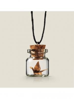 Кулон бутылочка Журавлик Бюро находок. Цвет: коричневый, прозрачный