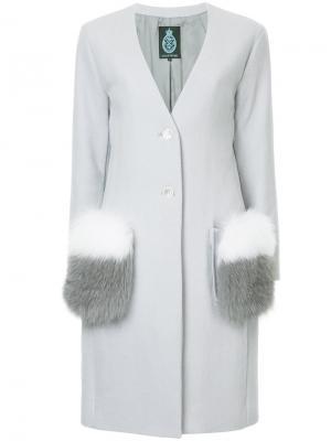 Пальто с пушистыми карманами Guild Prime. Цвет: серый