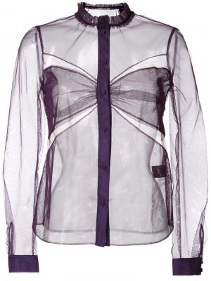 Полупрозрачная блузка с декоративными вырезами Mary Katrantzou. Цвет: розовый и фиолетовый