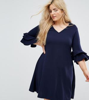 Praslin Платье с V-образным вырезом и рукавами клеш. Цвет: темно-синий
