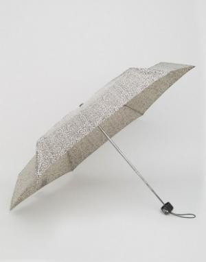 Totes Миниатюрный зонт с леопардовым принтом. Цвет: бежевый