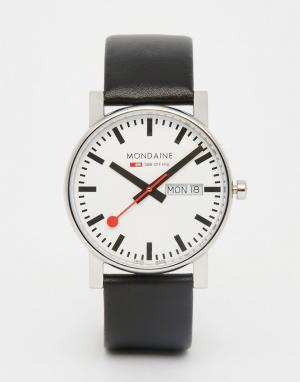 Mondaine Часы с датой и черным кожаным ремешком 38 мм. Цвет: черный