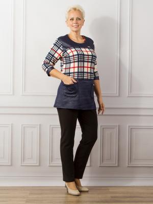 Туника женская, модель Версаль с карманами Dorothy's Home. Цвет: темно-синий, белый, красный