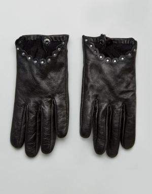 Boardmans Кожаные перчатки с заклепками. Цвет: черный