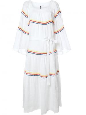 Платье с зигзагообразным узором Lisa Marie Fernandez. Цвет: белый