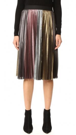 Металлизированная плиссированная юбка BCBGMAXAZRIA. Цвет: разноцветный металлик