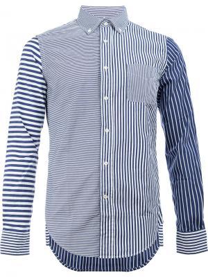 Рубашка в полоску Wooster + Lardini. Цвет: синий