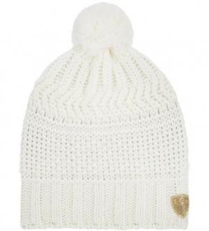 Вязаная шапка из акрила и шерсти с помпоном EA7. Цвет: молочный