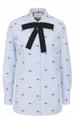 Хлопковая блуза прямого кроя с бантом Gucci. Цвет: синий