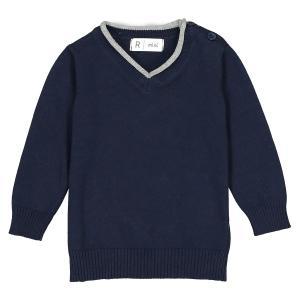 Пуловер с V-образным вырезом из тонкого трикотажа - 1 мес. 3 года Oeko Tex La Redoute Collections. Цвет: желтый,синий морской