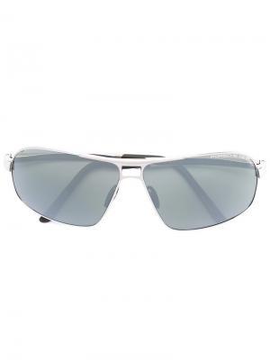 Солнцезащитные очки в квадратной оправе Porsche Design. Цвет: металлический