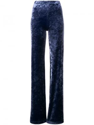 Расклешенные бархатные брюки Plein Sud. Цвет: синий