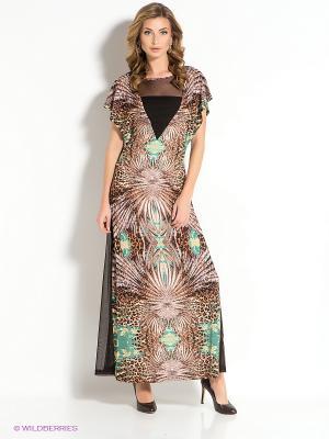 Платье MARY MEA. Цвет: бирюзовый, желтый, черный