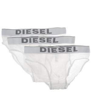 Комплект из трех белых трусов-брифов хлопка Diesel. Цвет: белый