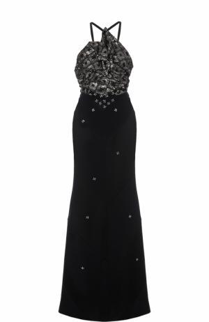 Приталенное платье-макси с декорированным лифом Roland Mouret. Цвет: черный