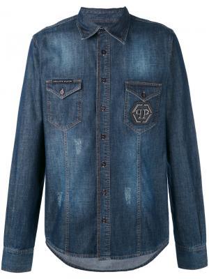 Джинсовая рубашка Philipp Plein. Цвет: синий