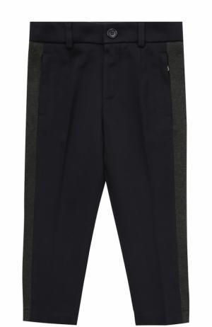 Хлопковые брюки прямого кроя с лампасами Dolce & Gabbana. Цвет: темно-синий