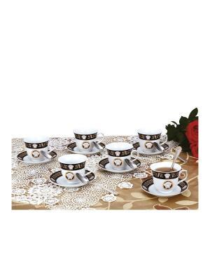 Чайный набор фарфор/нерж. 18 предметов Zillinger. Цвет: черный, белый