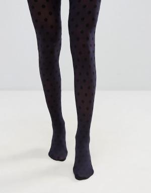 Jonathan Aston Колготки в горошек цвета индиго и черного. Цвет: синий