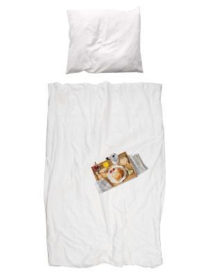 Комплект постельного белья Завтрак 150х200см SNURK. Цвет: белый, темно-бежевый, кремовый