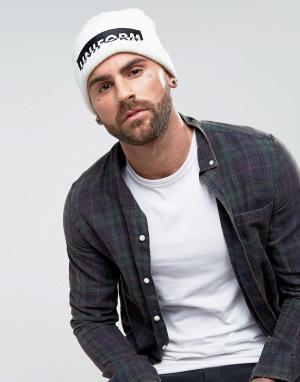 ASOS Белая шапка-бини с вышивкой. Цвет: белый