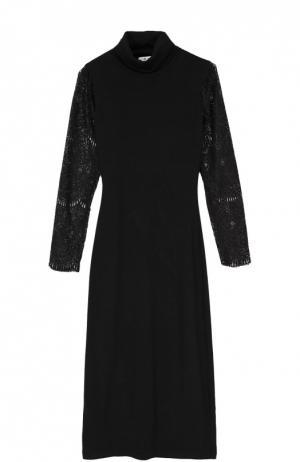 Платье-футляр с прозрачными кружевными рукавами Alice + Olivia. Цвет: черный