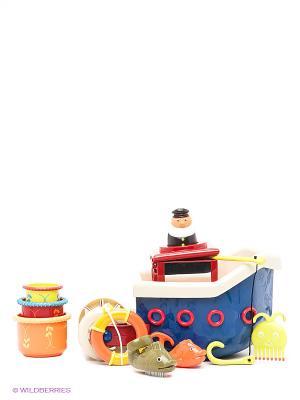 Игровой набор для ванны Кораблик Battat. Цвет: темно-синий, зеленый, красный, оранжевый