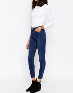 ASOS Темные выбеленные джинсы скинни с завышенной талией RIDLEY. Цвет: синий