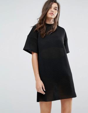 Uncivilised Сетчатое платье-футболка. Цвет: черный