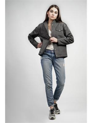Куртка-бомбер BURLO. Цвет: темно-серый
