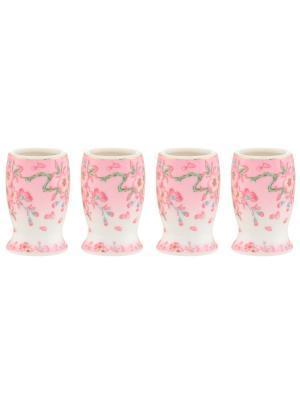 Набор из 4-х вазочек под зубочистки Сакура Elan Gallery. Цвет: розовый