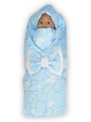 Конверт-одеяло Мое сердечко, голубой 90х90см лето + бант Lovely care. Цвет: голубой,белый