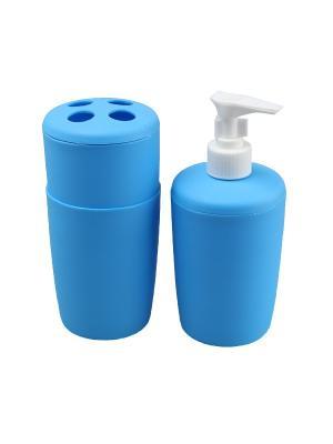 Набор (Диспенсер, 250 мл., подставка для зубных щеток, стакан, мл.) Migura. Цвет: синий