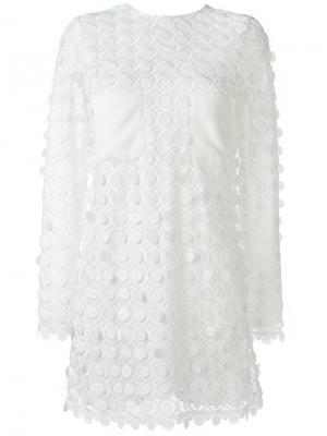 Короткое платье с длинными рукавами Carven. Цвет: белый
